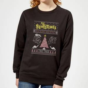 Flintstones Rockin Around The Tree Women's Christmas Sweatshirt - Black