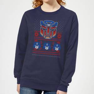 Autobots Classic Ugly Knit Women's Christmas Sweatshirt - Navy