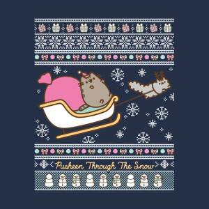 Pusheen Through The Snow Men's Christmas T-Shirt - Navy