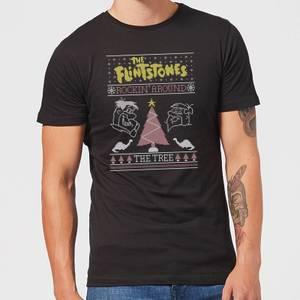 Flintstones Rockin Around The Tree Men's Christmas T-Shirt - Black