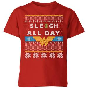 T-Shirt Wonder Woman 'Sleigh All Day Christmas - Rosso - Bambini