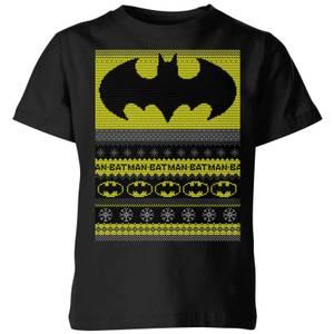 DC Comics Batman Kids' Christmas T-Shirt in Black