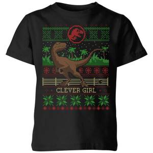Jurassic Park Clever Girl Kids' Christmas T-Shirt - Black