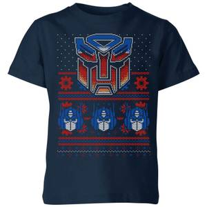 Autobots Classic Ugly Knit Kids' Christmas T-Shirt - Navy