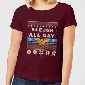 Wonder Woman 'Sleigh All Day Women's Christmas T-Shirt - Burgundy