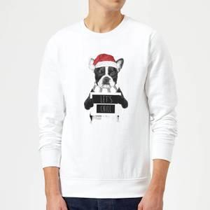 Balazs Solti Let It Snow Frenchie Christmas Sweatshirt - White