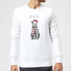 Balazs Solti Ho Ho Ho Christmas Cat Sweatshirt - White
