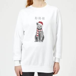 Balazs Solti Ho Ho Ho Christmas Cat Women's Sweatshirt - White