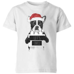 Balazs Solti Let It Snow Frenchie Christmas Kids' T-Shirt - White