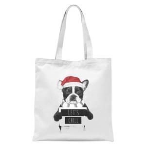 Balazs Solti Let It Snow Frenchie Christmas Tote Bag - White