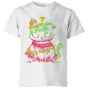 Tobias Fonseca Meow Catmas Lights Kids' T-Shirt - White