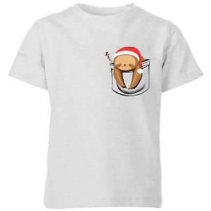 Tobias Fonseca Sloth In A Pocket Xmas Kids' T-Shirt - Grey