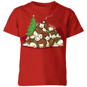 Tobias Fonseca Good Night Xmas Bear Kids' T-Shirt - Red