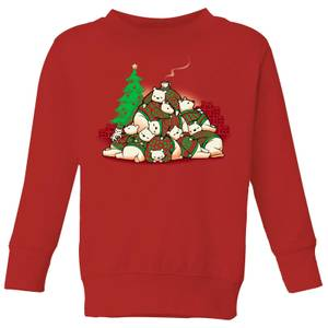 Tobias Fonseca Good Night Xmas Bear Kids' Sweatshirt - Red