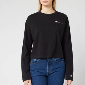 Champion Women's Long Sleeve Crew Neck Cropped T-Shirt - Black
