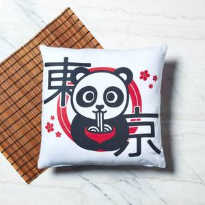 Ramen Panda Blumenmuster Quadratisches Kissen