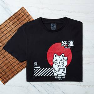 Ramen Lucky Cat T-Shirt - Black