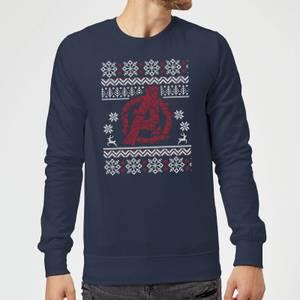 Avengers Logo Christmas Jumper Sweatshirt - Navy