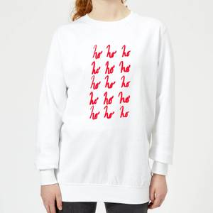 Ho Ho Ho Repetitive Women's Sweatshirt - White