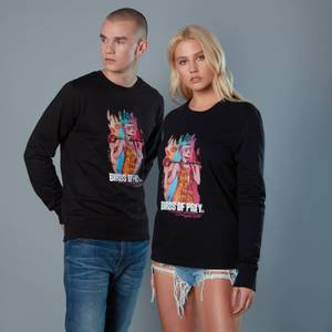 Harley Quinn Acrylic Storke Portrait Unisex Birds of Prey Sweatshirt - Black