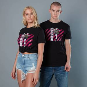 Harley Quinn Pink Stripes Unisex Birds of Prey T-Shirt - Black
