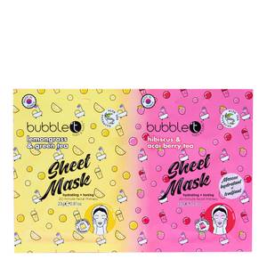 Bubble T Face Mask Duo Hibiscus, Acai, Lemongrass and Green Tea