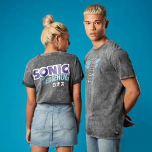 Totem Pole Sonic the Hedgehog Unisex T-Shirt - Black Acid Wash