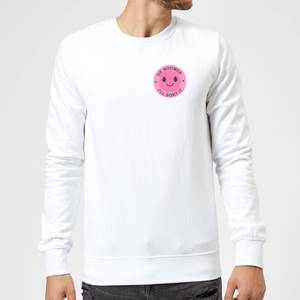 Ok Boomer Pink Smile Pocket Print Sweatshirt - White