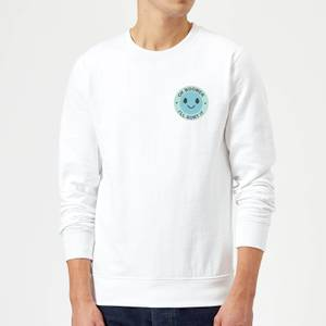 Ok Boomer Blue Smile Pocket Print Sweatshirt - White