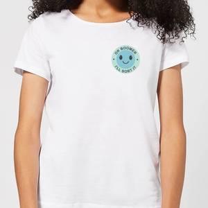 Ok Boomer Blue Smile Pocket Print Women's T-Shirt - White