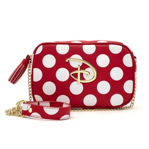 Loungefly Red & White Polka Dot Disney Logo Cross Body Bag