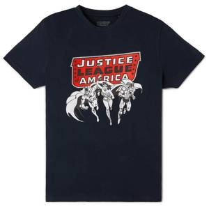 Justice League Metallic Black Ink T-Shirt - Navy