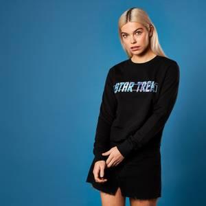 Holographic Star Trek Logo Women's Cropped Sweatshirt - Black