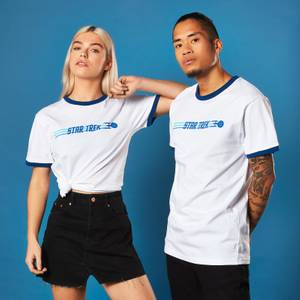Star Trek Enterprise Logo T-shirt - White / Blue Ringer