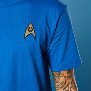 Embroidered Science Badge Star Trek T-shirt - Royal Blue