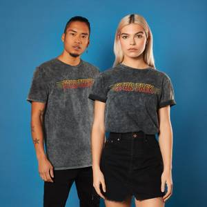 Retro Star Trek Title T-Shirt - Black Acid Wash