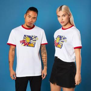 Retro Captain Kirk Star Trek T-shirt - White/ Red Ringer