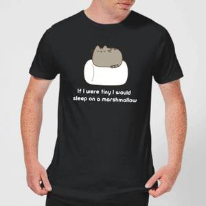 Pusheen If I Were Tiny I Would Sleep On A Marshmallow Men's T-Shirt - Black