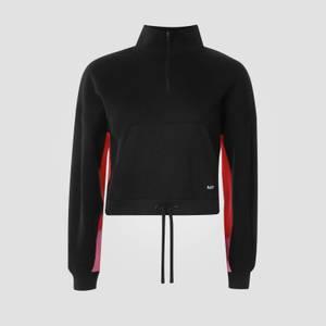 여성용 파워 집 퍼넬 넥 스웨트 셔츠 - 블랙