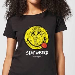Stay Weird Upside Down Smiley Women's T-Shirt - Black