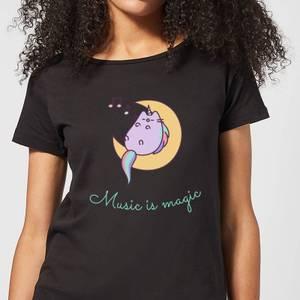 Pusheen Music Is Magic Women's T-Shirt - Black