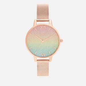 Olivia Burton Women's Rainbow Glitter Dial Watch - Rose Gold Mesh