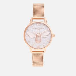 Olivia Burton Women's Glitter Dial Lucky Bee Watch - Rose Gold Mesh