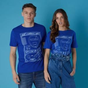 T-shirt Sega Megadrive Blueprints - Bleu - Unisexe