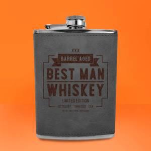 Best Man Whiskey Engraved Hip Flask - Grey