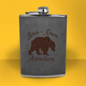 Bear Born To Roam Adventure Engraved Hip Flask - Grey