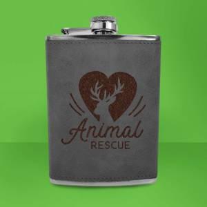 Love Heart Deer Animal Rescue Engraved Hip Flask - Grey