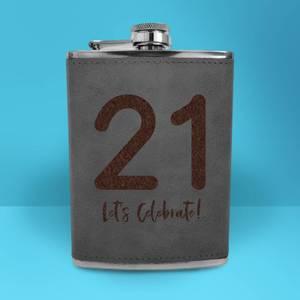21 Let's Celebrate Engraved Hip Flask - Grey