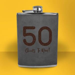 50 Cheers To You! Engraved Hip Flask - Grey