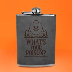 Whats Your Poison? Engraved Hip Flask - Grey